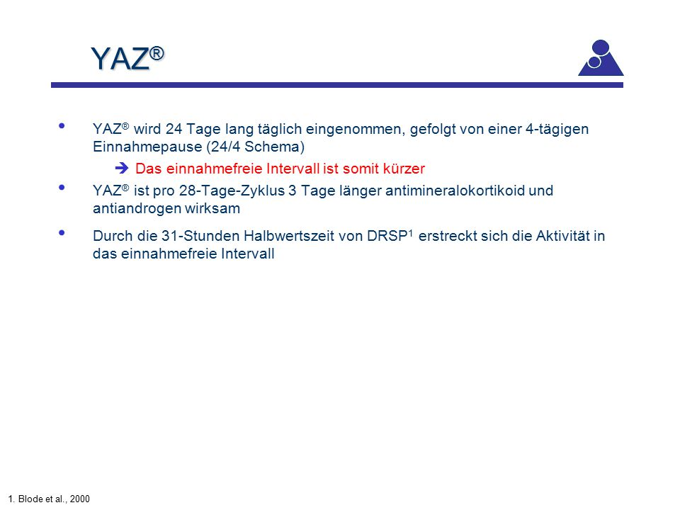YAZ® YAZ® wird 24 Tage lang täglich eingenommen, gefolgt von einer 4-tägigen Einnahmepause (24/4 Schema)