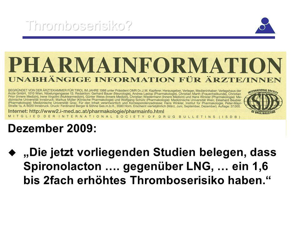 Thromboserisiko Dezember 2009:
