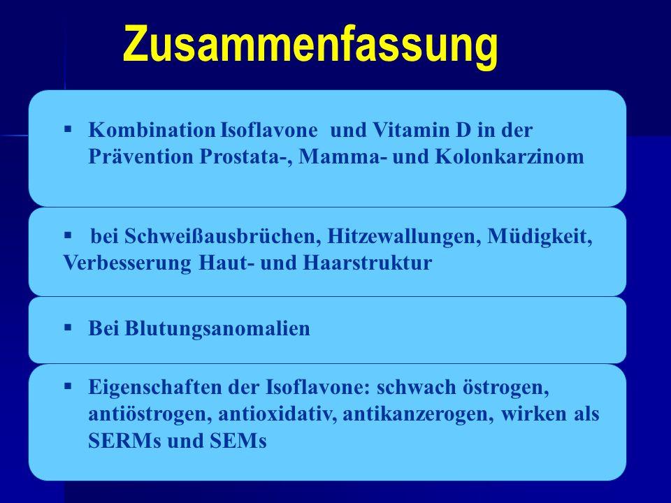 Zusammenfassung Kombination Isoflavone und Vitamin D in der Prävention Prostata-, Mamma- und Kolonkarzinom.