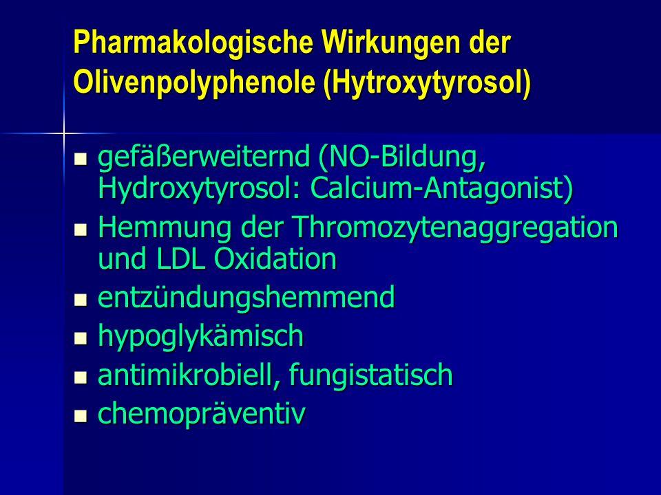 Pharmakologische Wirkungen der Olivenpolyphenole (Hytroxytyrosol)