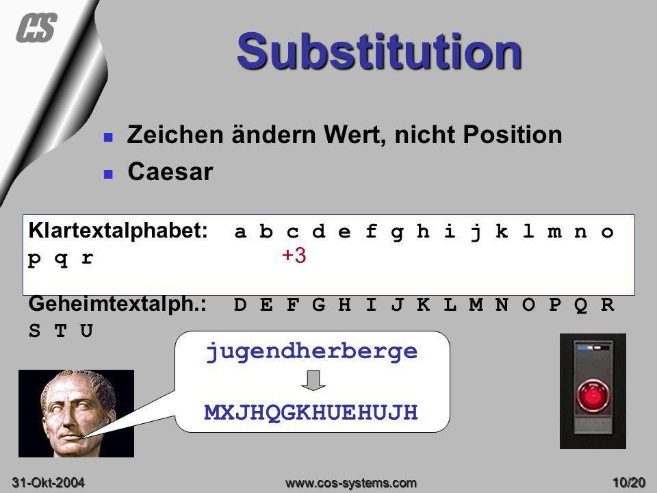 Substitution Zeichen ändern Wert, nicht Position Caesar jugendherberge
