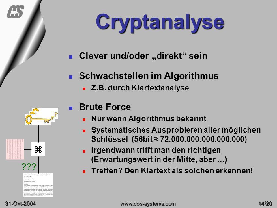 """Cryptanalyse Clever und/oder """"direkt sein"""