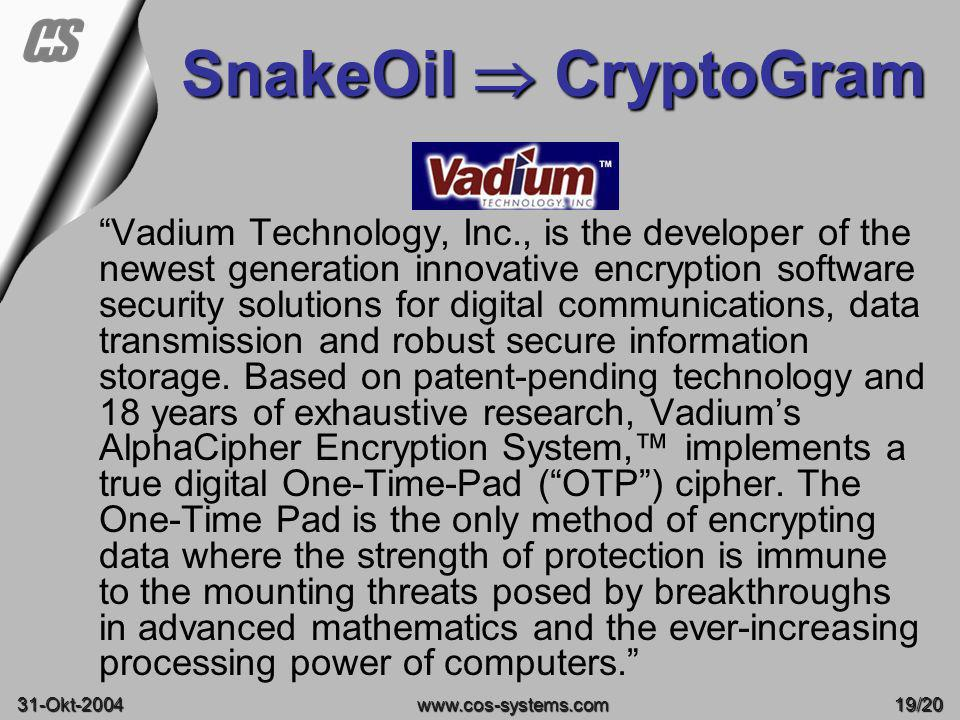 08-June-2003 SnakeOil  CryptoGram.