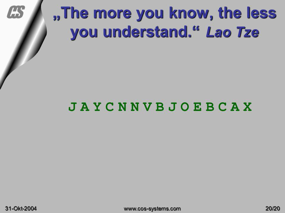 """The more you know, the less you understand. Lao Tze"