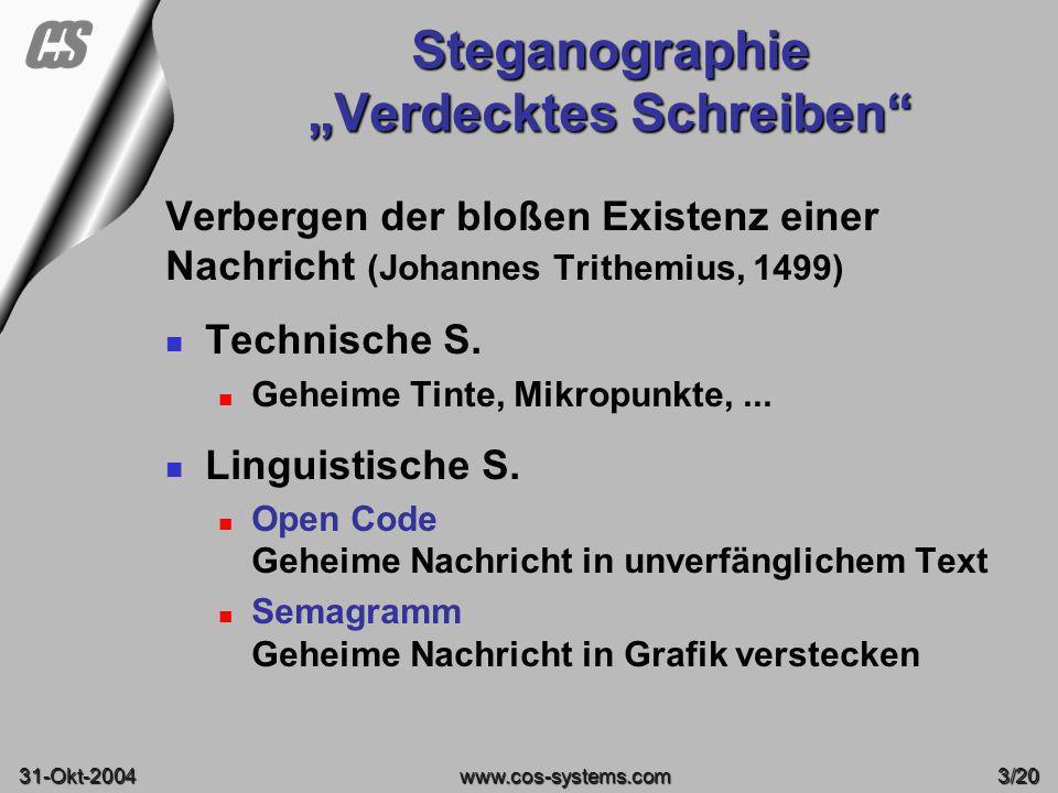 """Steganographie """"Verdecktes Schreiben"""