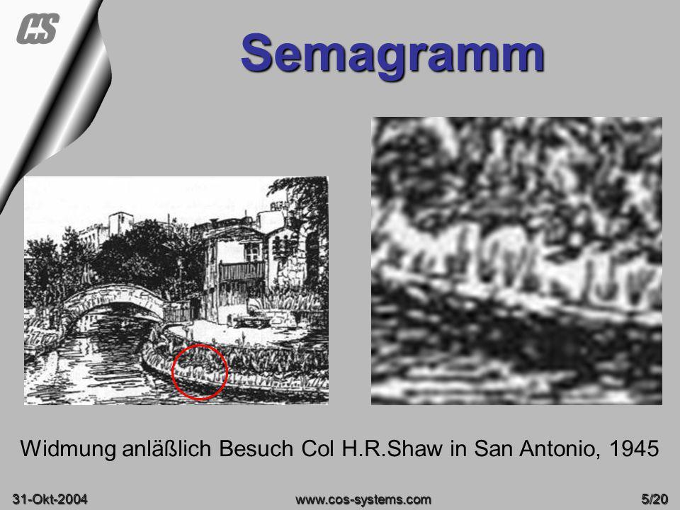Widmung anläßlich Besuch Col H.R.Shaw in San Antonio, 1945