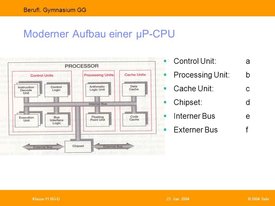 Moderner Aufbau einer µP-CPU