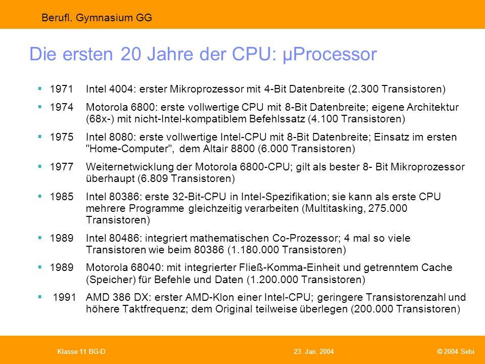Die ersten 20 Jahre der CPU: µProcessor