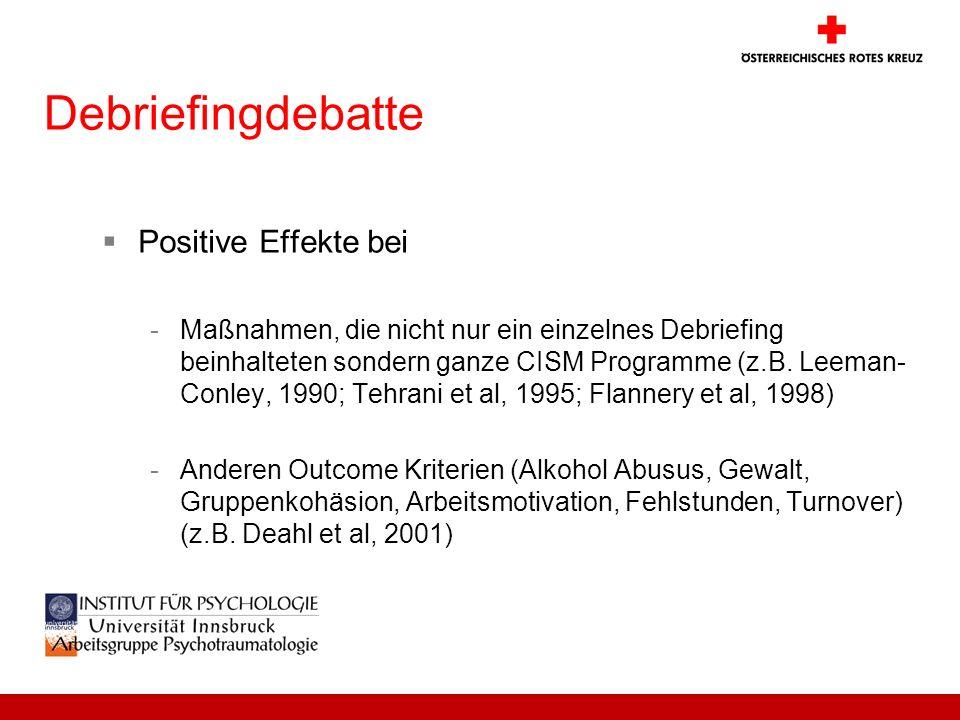 Debriefingdebatte Positive Effekte bei