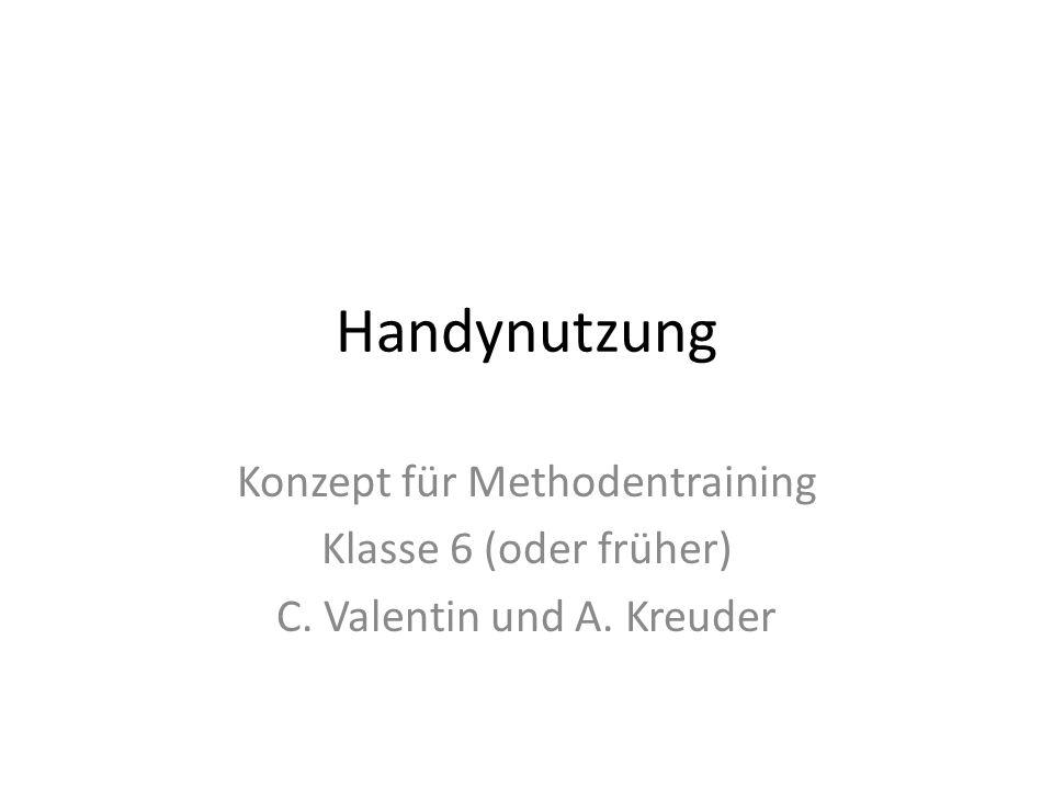 Handynutzung Konzept für Methodentraining Klasse 6 (oder früher)