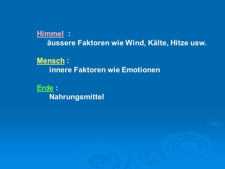 Himmel : äussere Faktoren wie Wind, Kälte, Hitze usw. Mensch : innere Faktoren wie Emotionen. Erde :