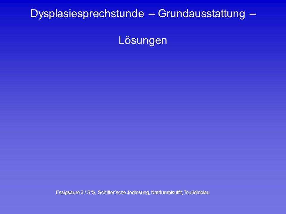 Dysplasiesprechstunde – Grundausstattung – Lösungen
