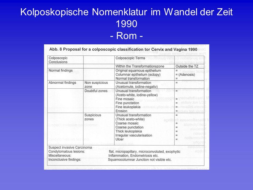 Kolposkopische Nomenklatur im Wandel der Zeit 1990 - Rom -