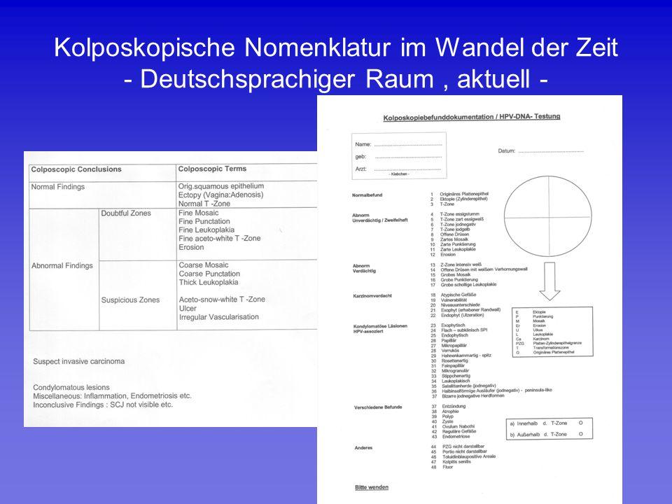 Kolposkopische Nomenklatur im Wandel der Zeit - Deutschsprachiger Raum , aktuell -