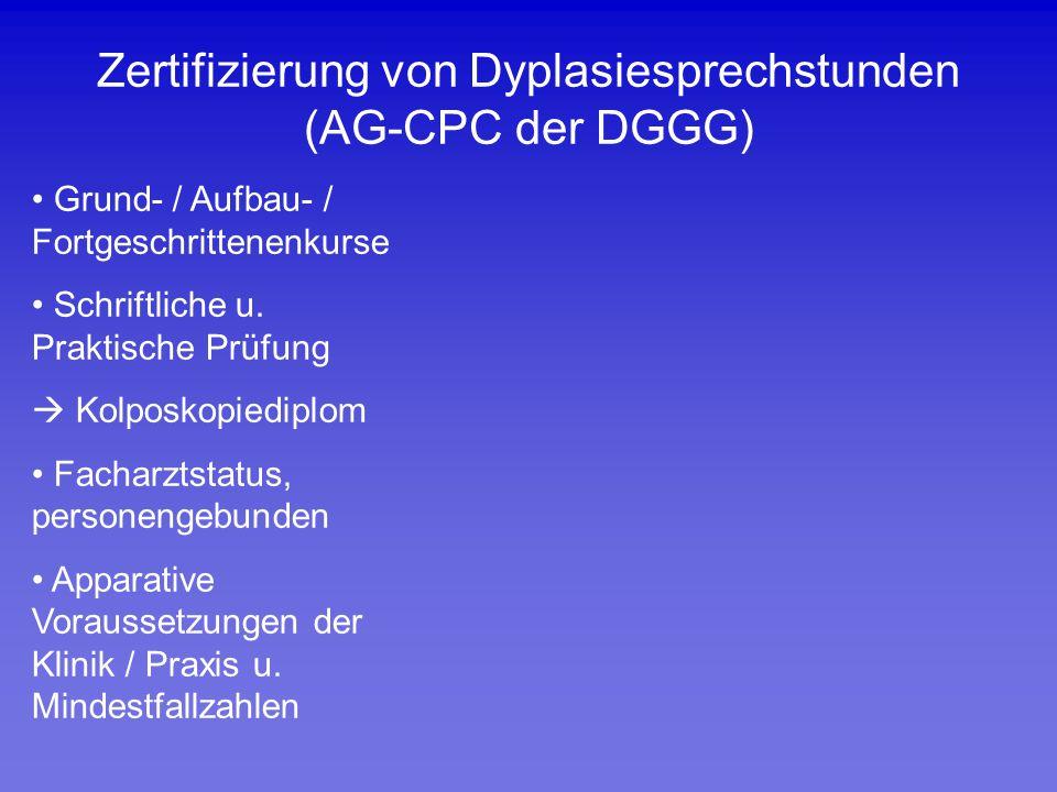 Zertifizierung von Dyplasiesprechstunden (AG-CPC der DGGG)