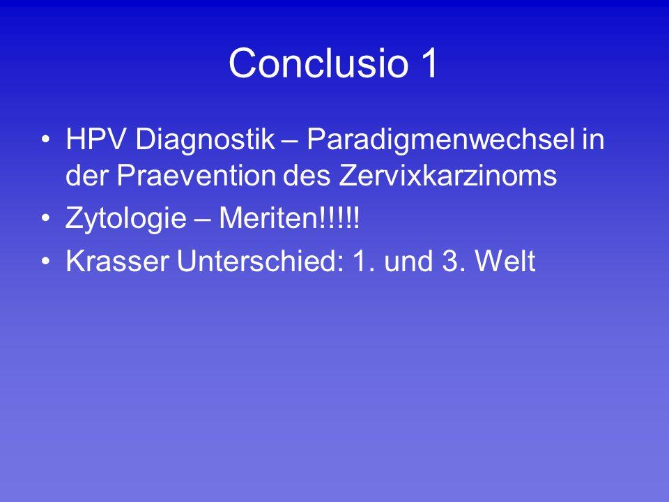 Conclusio 1 HPV Diagnostik – Paradigmenwechsel in der Praevention des Zervixkarzinoms. Zytologie – Meriten!!!!!