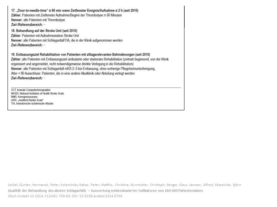 Seidel, Günter; Hermanek, Peter; Kolominsky-Rabas, Peter; Matthis, Christine; Burmeister, Christoph; Berger, Klaus; Janssen, Alfred; Misselwitz, Björn
