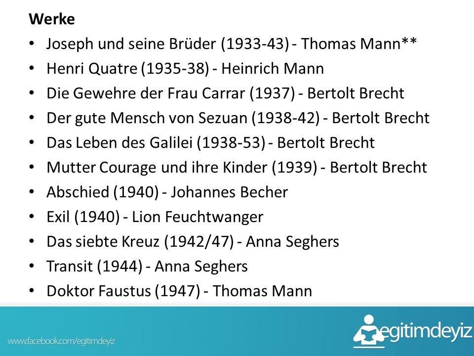 Werke Joseph und seine Brüder (1933-43) - Thomas Mann** Henri Quatre (1935-38) - Heinrich Mann. Die Gewehre der Frau Carrar (1937) - Bertolt Brecht.