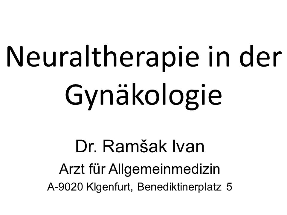 Neuraltherapie in der Gynäkologie