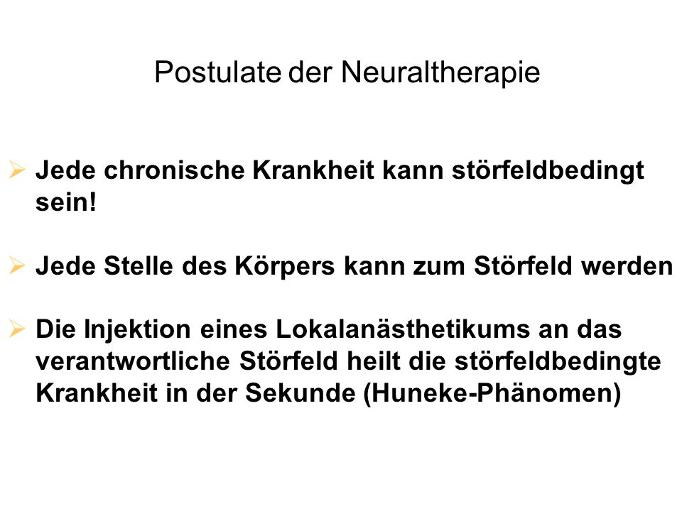 Postulate der Neuraltherapie