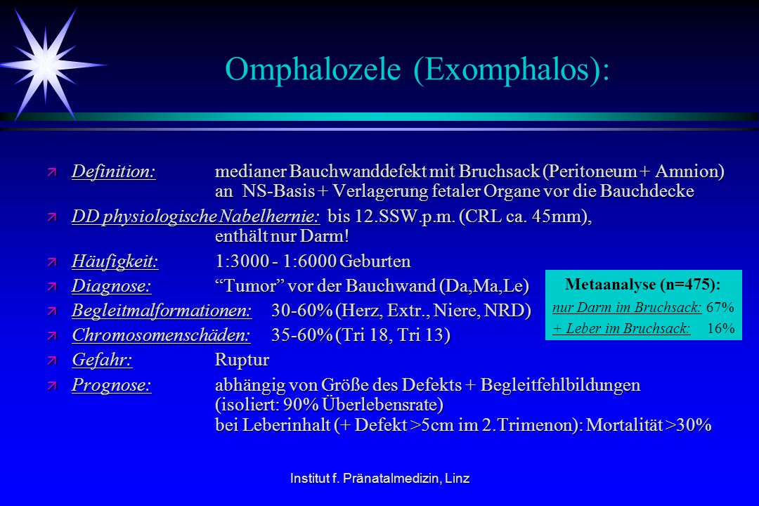 Omphalozele (Exomphalos):