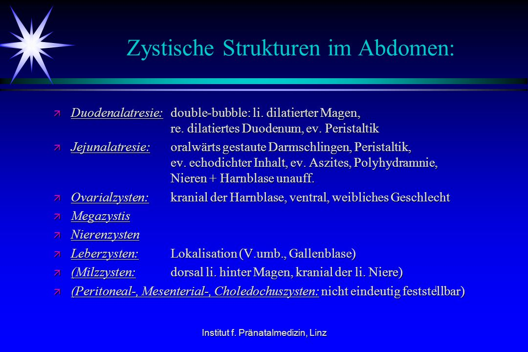 Zystische Strukturen im Abdomen: