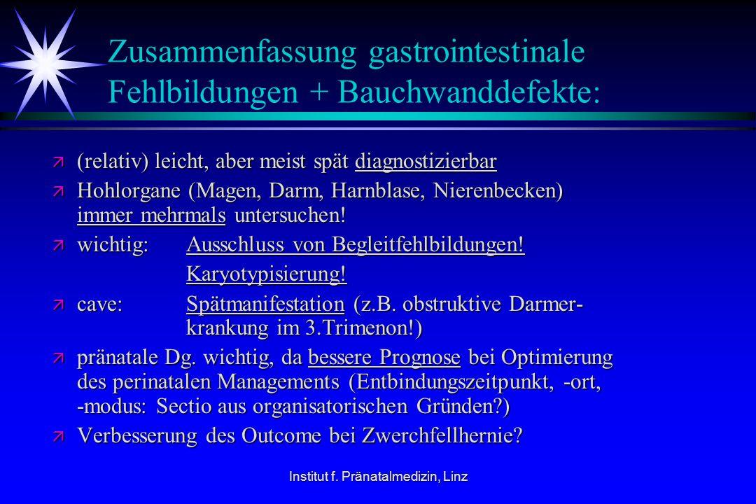 Zusammenfassung gastrointestinale Fehlbildungen + Bauchwanddefekte: