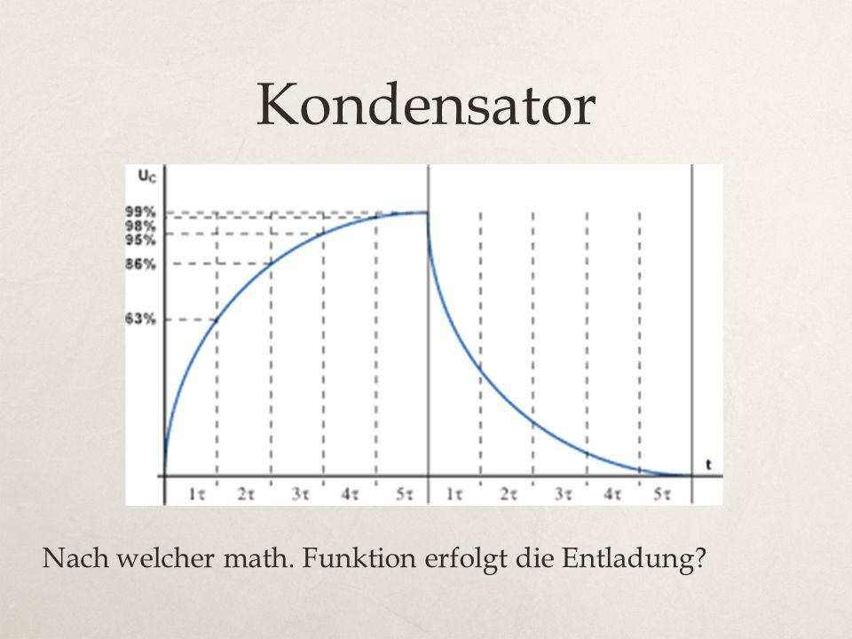 Kondensator Nach welcher math. Funktion erfolgt die Entladung