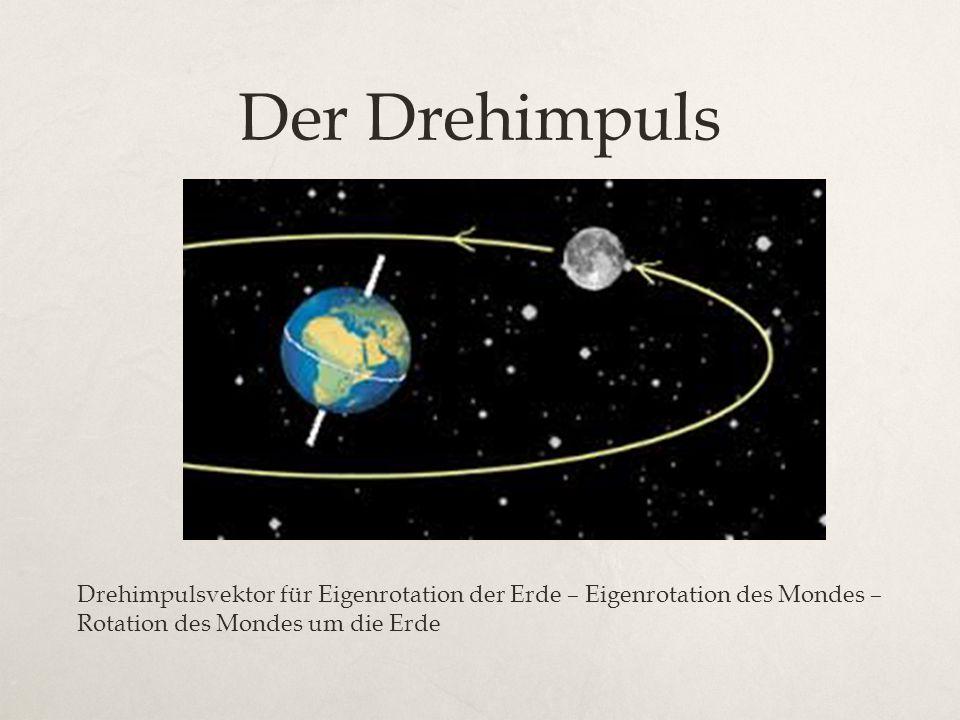 Der Drehimpuls Drehimpulsvektor für Eigenrotation der Erde – Eigenrotation des Mondes – Rotation des Mondes um die Erde.