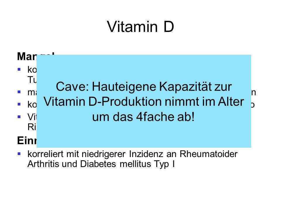 Vitamin D Mangel. korreliert mit MS-Inzidenz und Auftreten maligner Tumore (Kolon, Mamma) macht anfälliger für bakterielle und virale Erkrankungen.