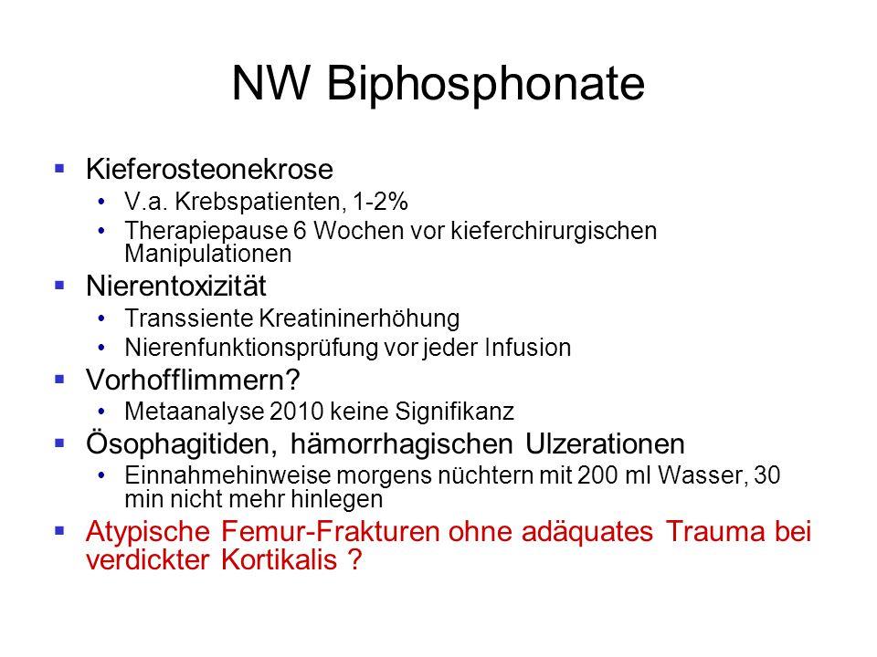 NW Biphosphonate Kieferosteonekrose Nierentoxizität Vorhofflimmern