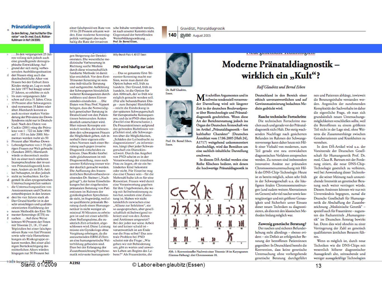 Stand: 01/2009 © Labor eiben glaubitz (Essen)