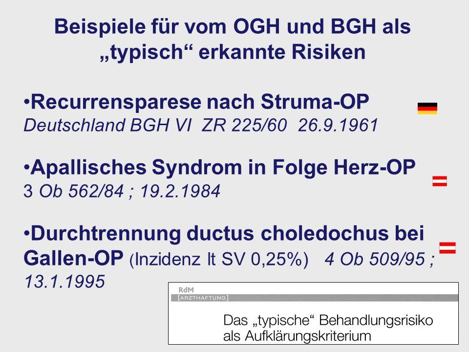 """Beispiele für vom OGH und BGH als """"typisch erkannte Risiken"""