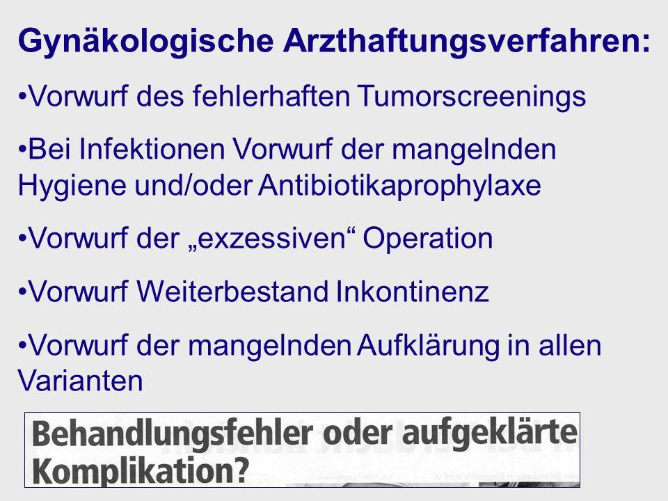 Gynäkologische Arzthaftungsverfahren: