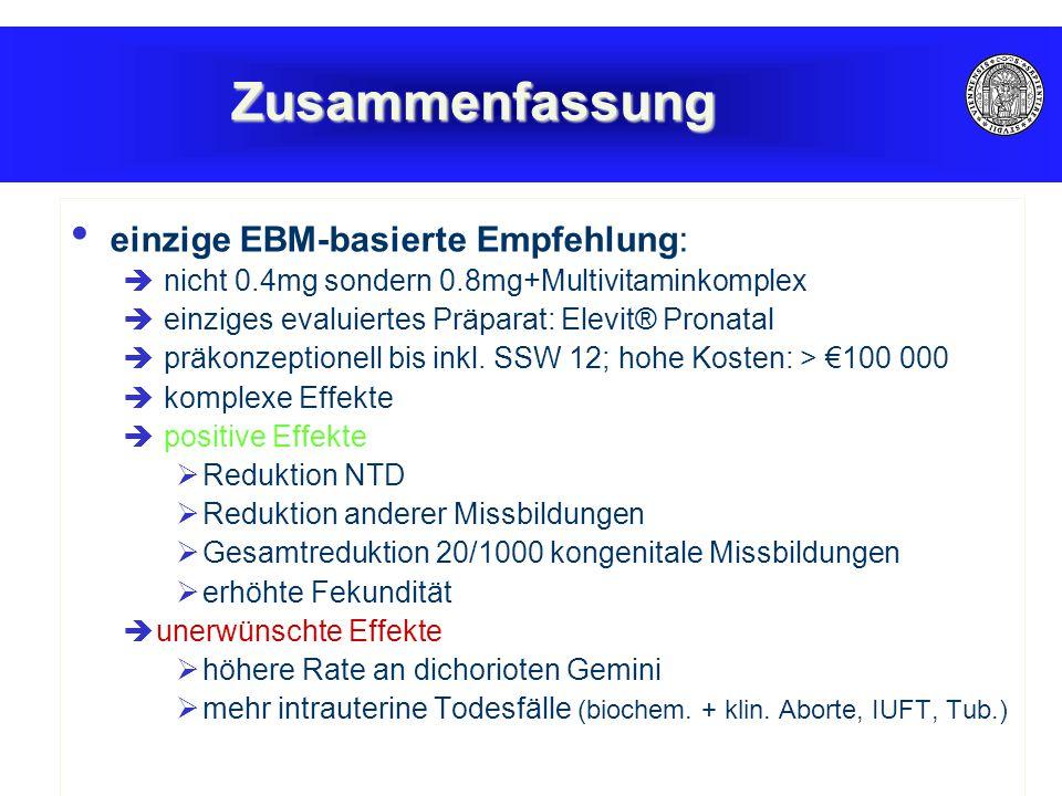 Zusammenfassung einzige EBM-basierte Empfehlung: