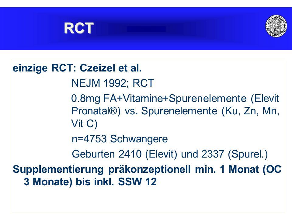 RCT einzige RCT: Czeizel et al. NEJM 1992; RCT