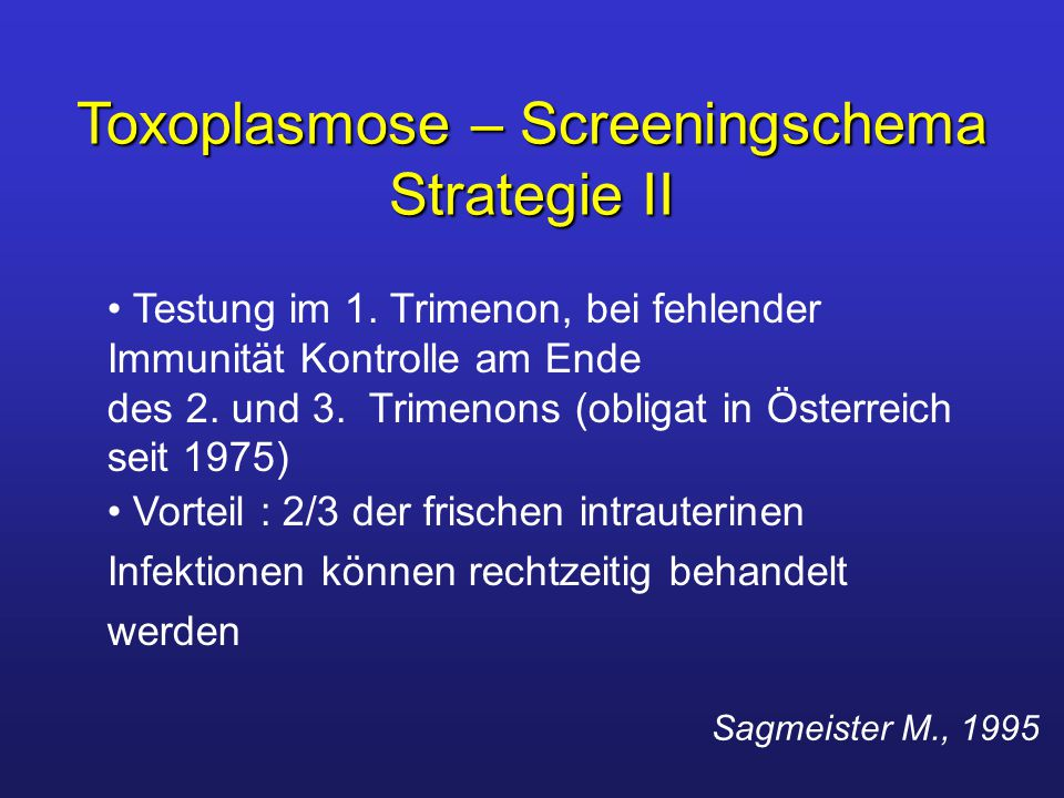 Toxoplasmose – Screeningschema Strategie II