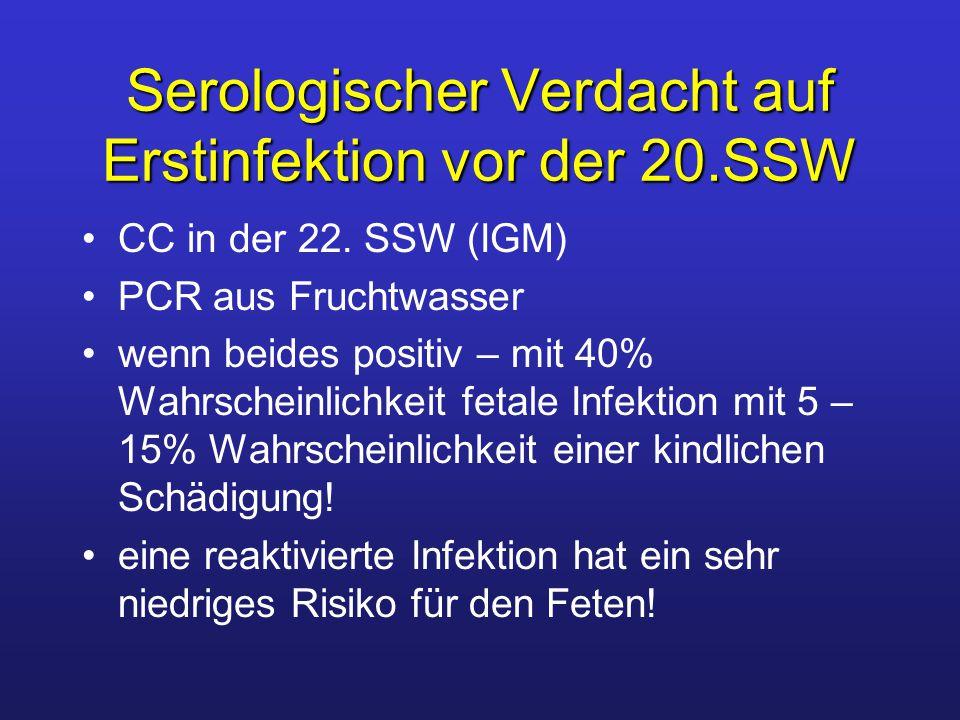 Serologischer Verdacht auf Erstinfektion vor der 20.SSW