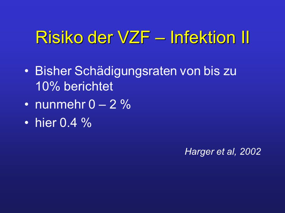 Risiko der VZF – Infektion II