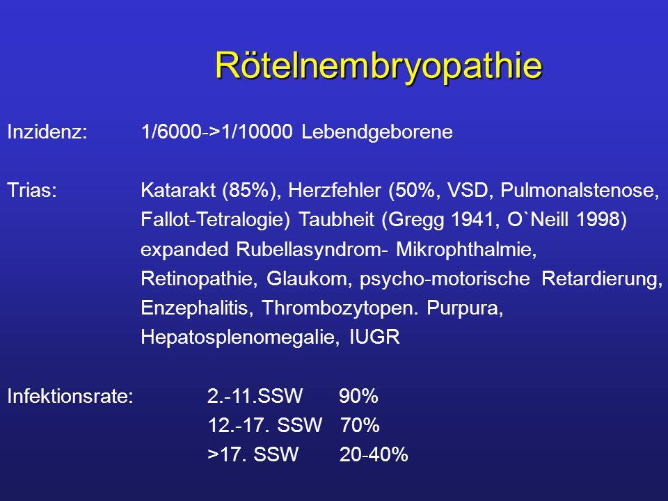 Rötelnembryopathie Inzidenz: 1/6000->1/10000 Lebendgeborene
