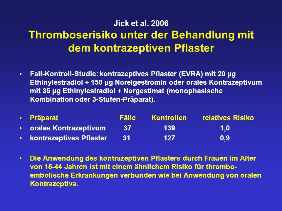 Jick et al. 2006 Thromboserisiko unter der Behandlung mit dem kontrazeptiven Pflaster