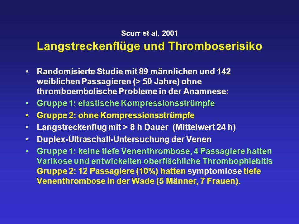 Scurr et al. 2001 Langstreckenflüge und Thromboserisiko