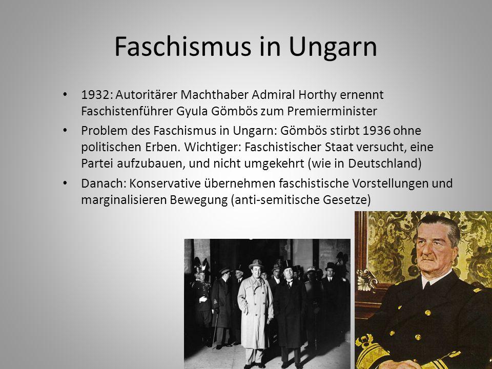 Faschismus in Ungarn 1932: Autoritärer Machthaber Admiral Horthy ernennt Faschistenführer Gyula Gömbös zum Premierminister.