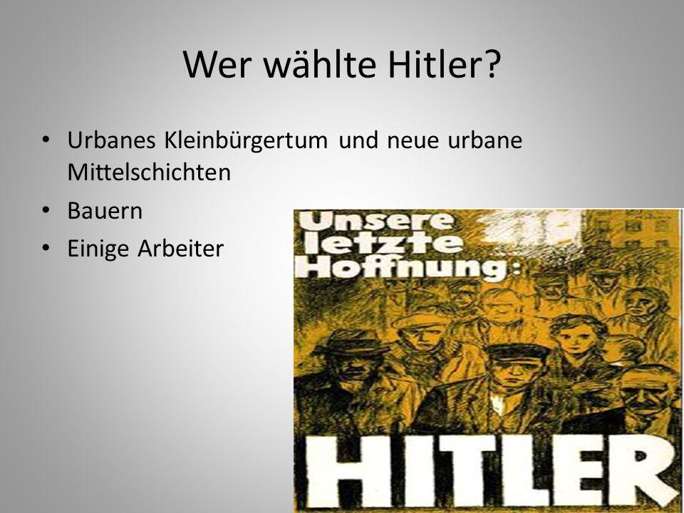 Wer wählte Hitler Urbanes Kleinbürgertum und neue urbane Mittelschichten Bauern Einige Arbeiter