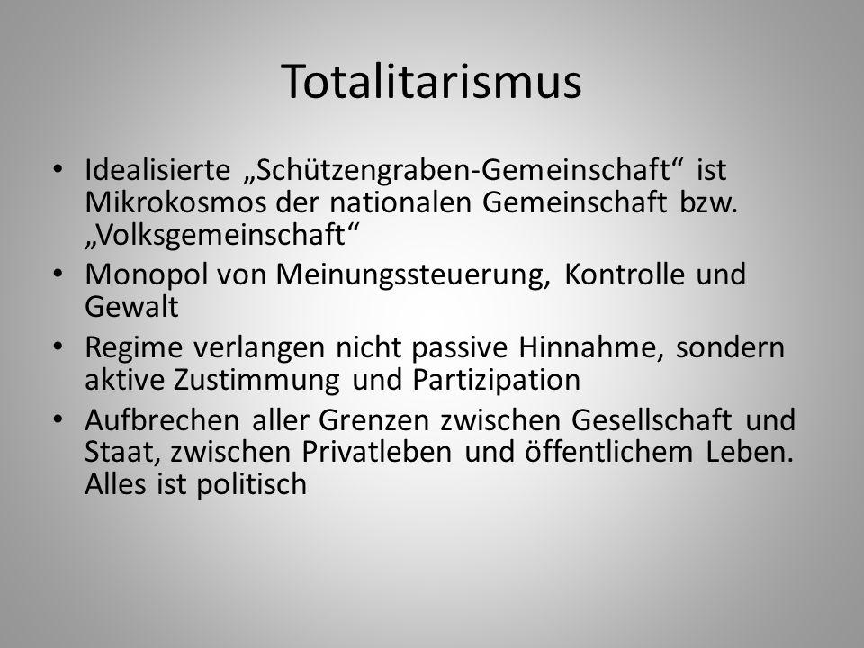 """Totalitarismus Idealisierte """"Schützengraben-Gemeinschaft ist Mikrokosmos der nationalen Gemeinschaft bzw. """"Volksgemeinschaft"""