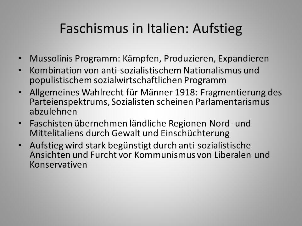Faschismus in Italien: Aufstieg