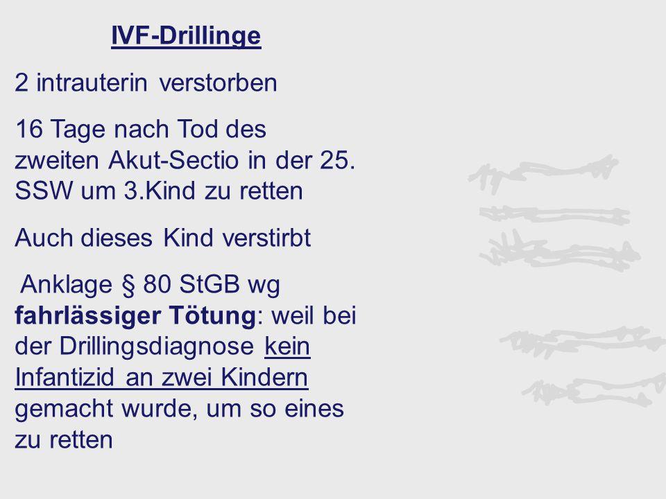IVF-Drillinge 2 intrauterin verstorben. 16 Tage nach Tod des zweiten Akut-Sectio in der 25. SSW um 3.Kind zu retten.