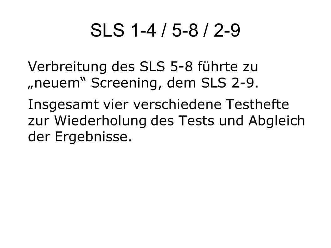 """SLS 1-4 / 5-8 / 2-9 Verbreitung des SLS 5-8 führte zu """"neuem Screening, dem SLS 2-9."""