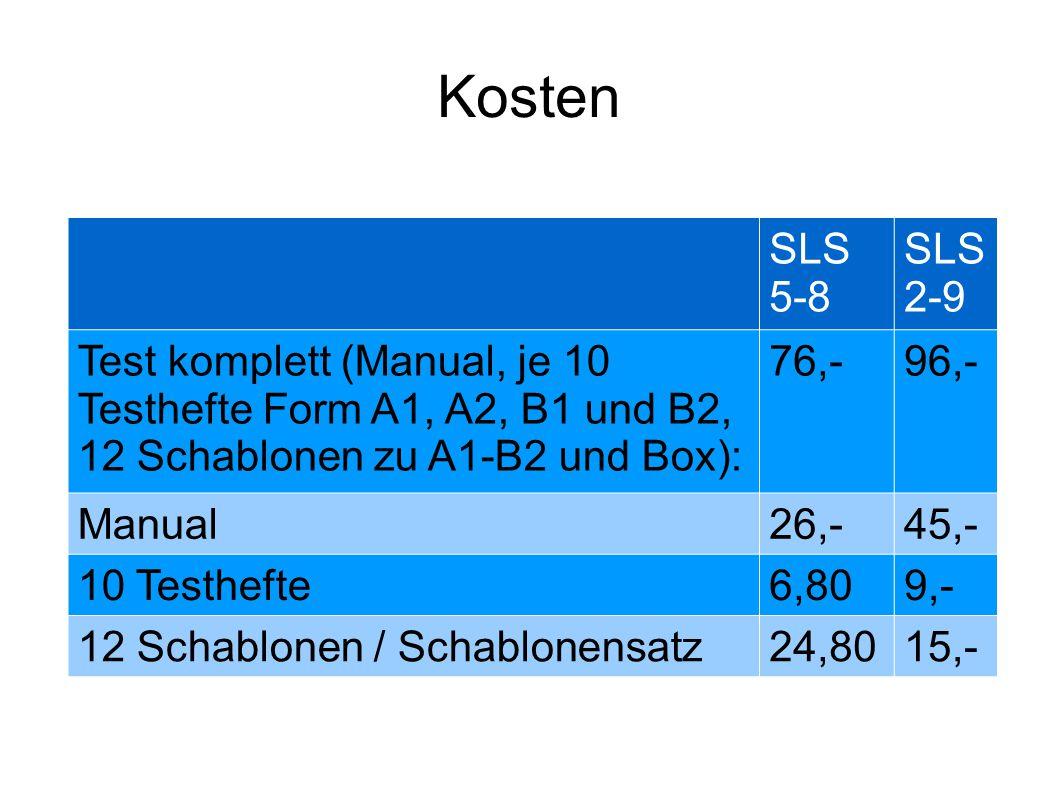 Kosten SLS 5-8. SLS 2-9. Test komplett (Manual, je 10 Testhefte Form A1, A2, B1 und B2, 12 Schablonen zu A1-B2 und Box):