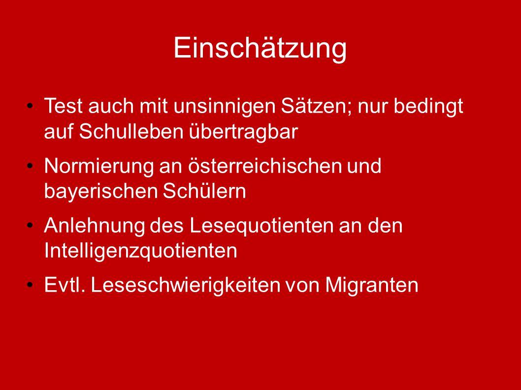 Einschätzung Test auch mit unsinnigen Sätzen; nur bedingt auf Schulleben übertragbar. Normierung an österreichischen und bayerischen Schülern.